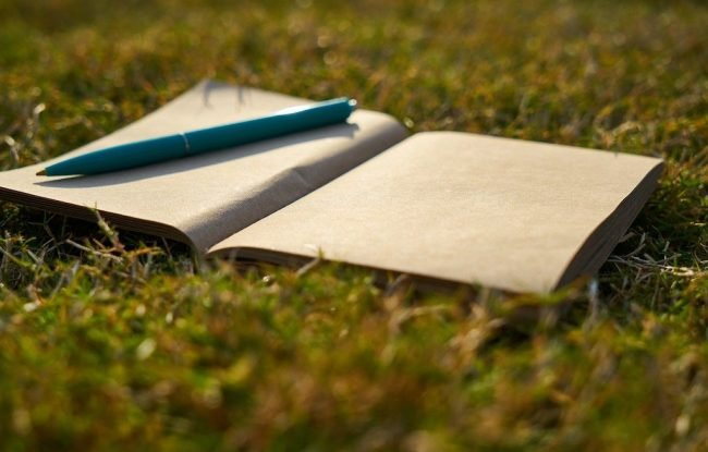 Notebook on grass with pen