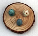 Natural Pine Egg Stand (Three Small Holes On One Round).