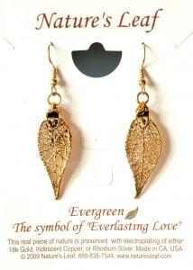 Evergreen Leaf Gold Earrings (Nature'S Leaf).