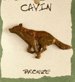 Running Wolf Bronze Pin (Wildlife in Bronze)