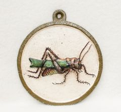 Painted Metal Grasshopper Wall Plaque