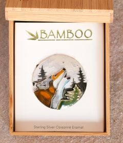 Wolf Moon Pin (Bamboo Jewelry)