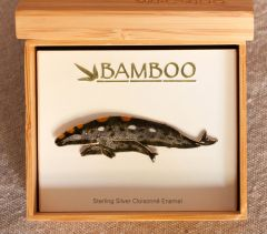 Gray Whale And Calf Pin (Bamboo Jewelry).