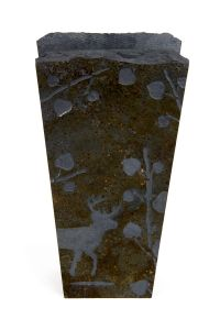 Deer & Aspen Leaves Etched Stone Vase