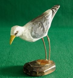 Seagull Carved Wood Statuette