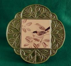 Ceramic Songbird Garden Wall Plaque (Green Border)
