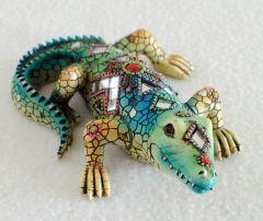 Mosaic Alligator Figurine