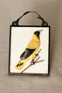 Painted Metal Oriole Wall Plaque
