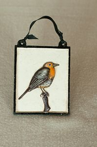 Painted Metal Robin Wall Plaque
