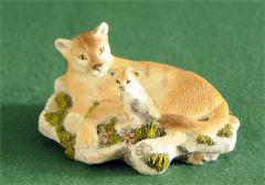 Mountain Lion & Kitten Sculpture