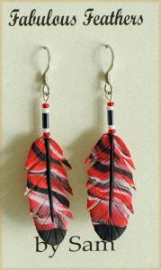 Cherry Clay Feather Earrings (Hook).