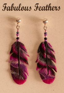 Rose Clay Feather Earrings (Post)