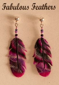 Rose Clay Feather Earrings (Post).