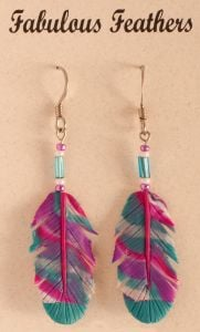Sky Clay Feather Earrings (Hook)