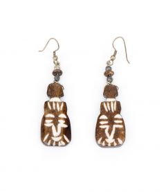 Pine Resin Native Mask Earrings