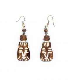 Pine Resin Native Mask Earrings