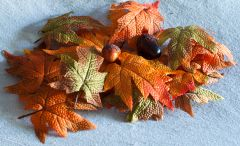 Fabric Autumn Leaves And Acorns (Gift Box)