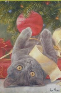 Christmas Cat Large Flag