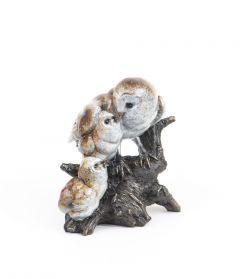 Owl & Fledglings Stonecast™ Sculpture