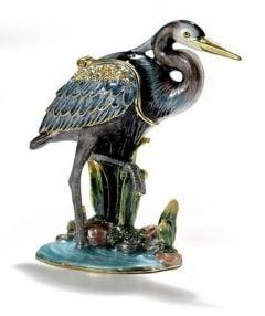 Great Blue Heron Bejeweled Enamel Trinket Box