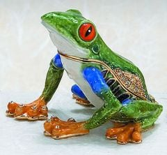 Tree Frog Bejeweled Enamel Trinket Box