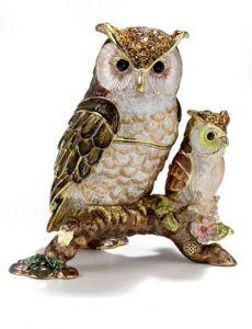 Owl & Chick Bejeweled Enamel Trinket Box