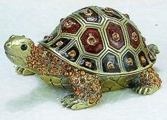 Brown Turtle Bejeweled Enamel Trinket Box