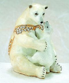 Polar Bear & Cub Bejeweled Enamel Trinket Box
