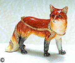 Fox Bejeweled Enamel Trinket Box