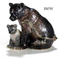 Black Bear & Cub Bejeweled Enamel Trinket Box