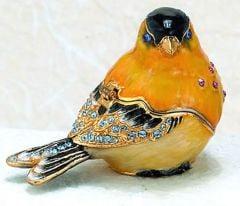 Goldfinch Bejeweled Enamel Trinket Box