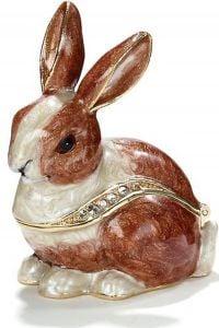 Brown Rabbit Bejeweled Enamel Trinket Box