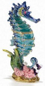 Seahorse Bejeweled Enamel Trinket Box