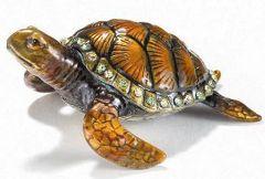 Sea Turtle Bejeweled Enamel Trinket Box