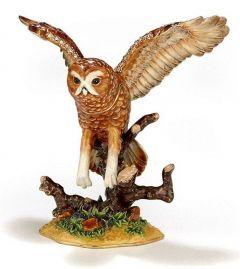 Barn Owl Bejeweled Enamel Trinket Box (Wings Spread)