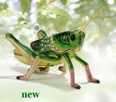 Grasshopper Bejeweled Enamel Trinket Box