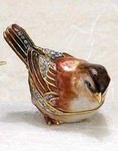 Sparrow Bejeweled Enamel Trinket Box