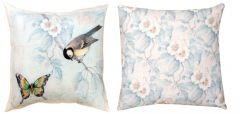 Birds, Butterflies, & Dragonflies Reversible Pillow (Blue)
