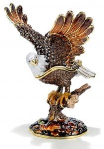 Bald Eagle Bejeweled Enamel Trinket Box