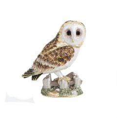 Barn Owl Bejeweled Enamel Trinket Box (Perched)