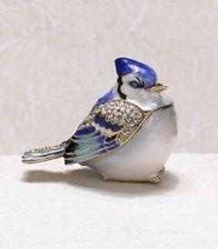 Blue Jay Bejeweled Enamel Trinket Box