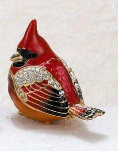 Cardinal Bejeweled Enamel Trinket Box