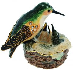 Hummingbird & Nest Bejeweled Enamel Trinket Box