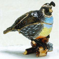 Quail Bejeweled Enamel Trinket Box