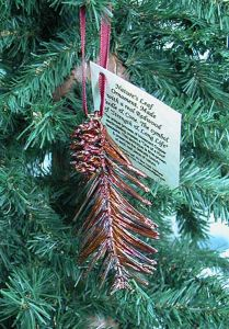 Redwood Needles & Cone Copper Ornament