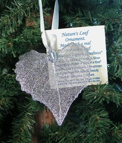 Cottonwood Leaf Silver Ornament