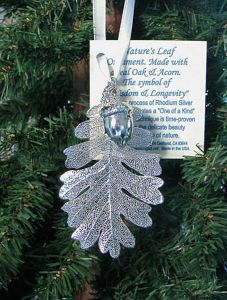Oak Leaf & Acorn Silver Ornament