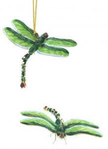 Green Dragonfly Enamel Ornament