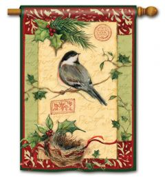 Holiday Chickadee Large Standard Flag