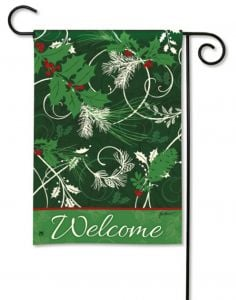 Holly Welcome Small Garden Flag